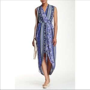 ASTR The Label faux wrap high low sleeveless dress